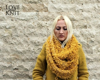 Sale Knit Infinity Scarf / Womens Circle Scarf / Mustard Yellow Infinity Scarf / Hood Scarf / Infinity Scarf / Gift for Her / Womens Gift /
