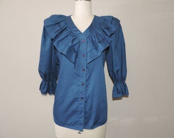 navy ruffled blouse 70s square dance blue ruffle bodice button down top small medium