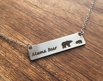 Mama Bear Necklace Bar Necklace Bar Jewelry Mom Necklace Bar Jewelry For Mom Gift Mother's Day Birthday Gift for Mom Mama Bear Necklace