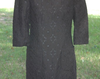 Vintage Black Lace 1960s Day Dress- Day to Evening Dress Size Small-Medium
