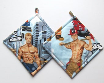 Firemen Pinups Sexy Hunky Hot Men Pot Holders Set of Two