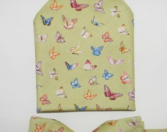 Men's Bow-tie & Pocket Square set - Butterflies, wildlife, countryside, men's gift set, outdoors, insects, bugs.