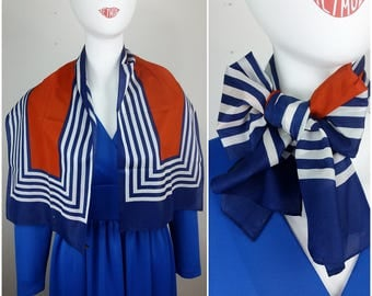 Fun Nautical Vintage 60s 70s Navy Blue, Red & White Squares Stripes Long Scarf
