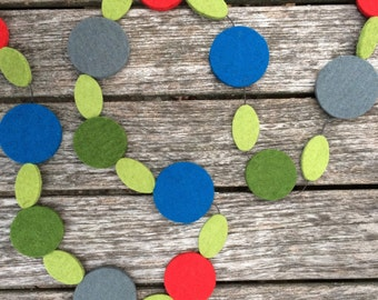 Upcycled holiday garland felt in festive colors home and living wall hanging party decor housewarming gift