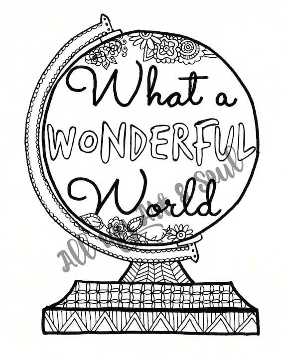 Adult Coloring Page Wonderful World Instant Download