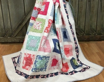 """Quilt Twin Aria HANDMADE Patchwork Quilt Moda Kate Spain Butterflies 79x89"""""""