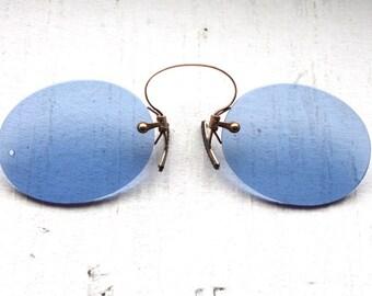 Rare Antique 1800's Pince Nez // Victorian Cobalt Blue Lens Spring Bridge Sunglasses // Civil War Era Lorgnette // #S2