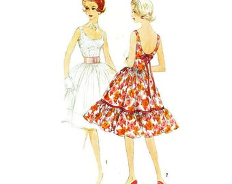 1960s Party Dress with Very Full Skirt Pattern Simplicity 3470 B34 Sz 14