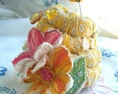 Reserved for Susanne, Sweet and Shabby Beehive Pincushion- Made to Order