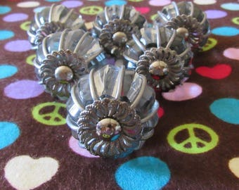 Set of Six Wire Wrapped Cut Glass Knobs