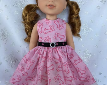 Hopping Bunnies Dress for 14.5 inch doll like Wellie Wishers