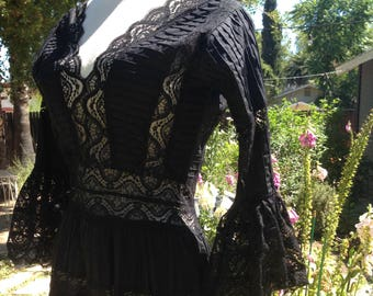 Vintage 70s Black Mexican Wedding Dress s m Pintucked Peek a Boo Lace Flared Sleeves Festival Boho Goth Hippie