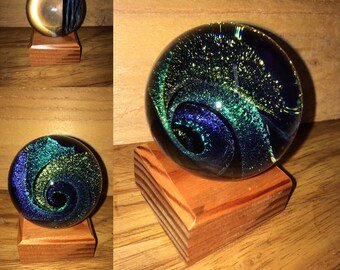 """Dichroic Glass Vortex Marble 2.2"""" inches artist direct signed AJW 17' green teal purple blue"""