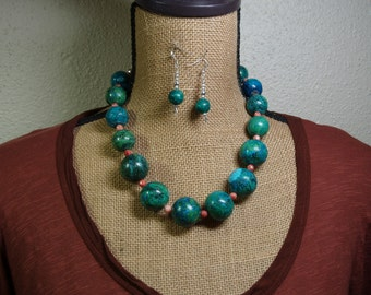 Natural Chrysocolla Gemstones, 925 Silver Necklace and Earrings