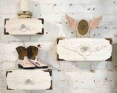 Painted Cottage Chic Shabby Farmhouse Shelves / Cubbies