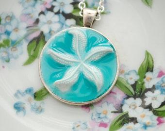 Artisan Starfish Relief Pendant - Nautical, Beach Jewelry, Beach Necklace, Starfish Necklace, Ocean, Turquoise, Clay Pendant, Faux Porcelain