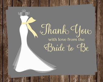 Bridal Shower Thank You Cards, Dress, Wedding, Yellow, Gray with Gown, Set of 24 Folding Notes, FREE Ship, ELGGR, Elegant Gown Gray Yellow