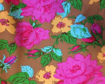 Sale fabric remnant Jennifer Paganelli Eloise from Happyland collection,  three yards floral fabric, fuschia, ocher, turquoise