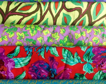 Kaffe Fassett OOP, rare, collective half yard bundle, Philip Jacobs, Martha Negley, lime, red, purple