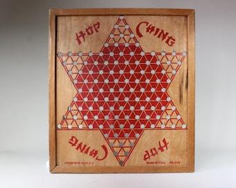 Vintage Wood Chinese Checkers Game Board Hop Ching Retro Asian Wall Decor Pressman Corp NY 1940s 1950s