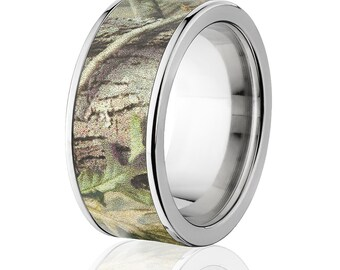 New 10mm Titanium Licensed RealTree Green Camo Ring Camo Wedding Band RealTree Green Titanium Wedding Ring : 10F-RT-GREEN