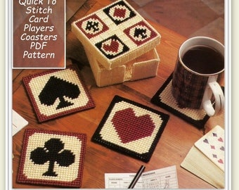 Coasters & Coaster Holder Pattern - Playing cards Hearts, Diamonds, Spades, Clubs - Plastic Canvas Pattern 26117205