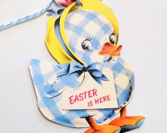 Blue Duck Tags - Retro Easter Tags - Set of 3 - Blue Gingham Duck - Yellow  Bonnet - Blue Toy Duck - Girl Duck - 1950's Easter Tag -