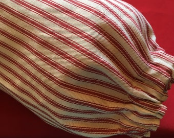 Plastic Grocery Bag Holder Red and White Stripe Ticking Fabric
