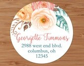 Coral and Peach Ranunculus Floral Bouquet- Custom Address Labels or Stickers