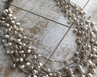 Creamy White Freshwater Pearl Necklace, Multi Layered Neckace, Wire Crochet Necklace, Antiqued Copper Necklace, Gift