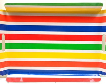 Set Of 2 Bright and Colorful 1960s Summer Fun Trays by Match Mate