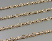 1 meter bright rose gold plated big + small oval ring chains, rose gold necklace bracelet chains B086-BRG