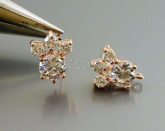 2 pcs / 1 pair rose gold tiara Cubic Zirconia earrings, crystal CZ earrings, wedding earings, crystal earrings 1646-BRG (rose gold)
