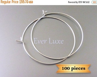 15% SALE 100 rhodium silver plated Hoop earrings ear wires earwires for making jewelry, supplies B018-BR-Bulk (100 pieces)
