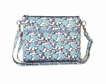 Blue Gray Zippered Crossbody Bag - Medium Messenger Purse - Fabric Cross Body Purse - Outside Pockets - Zipper Closure Shoulder Bag