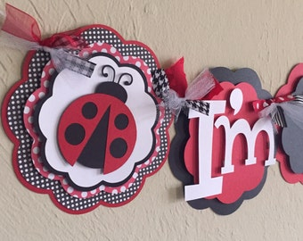 LadyBug Black White Red Polka Dot I'm 1 High Chair Age Lady Bug Banner Highchair Girl Baby Shower Birthday Party Decorations Room Decor