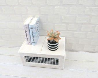 Grey Echeveria agavoides in black adn white striped vase for dollhouse in 1:12 scale