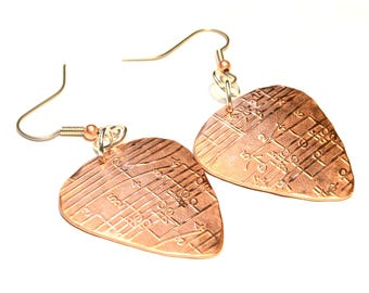 Copper Guitar Pick Earrings , music notes earrings