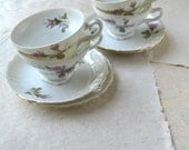 Moss Rose Teacup and Saucer Set - 4 Vintage Teacups and Saucers