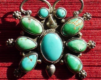 Navajo Sterling Silver Turquoise Cluster Butterfly Pin / Pendant