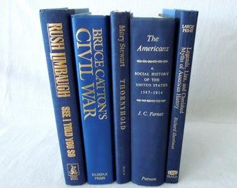 Deep Blue Books by Color - Vintage Book Stack  Navy Royal Blue - Bookshelf decor
