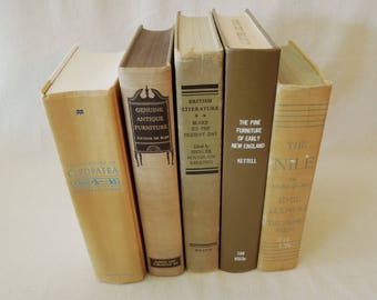 Tan Brown Books for Decor - Book Collection in Neutral Beige - Decorative Book Stack - Book Bundle