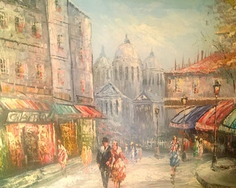 France Vintage Painting Street Scene Cityscape Original French Impressionist of Paris Nice Condition signed