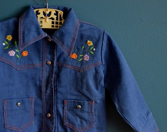 Vintage Girl's Jean Jacket with Flower Embroidery - Size 3T