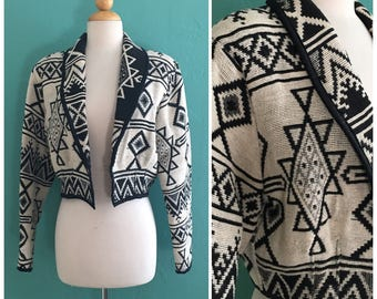 vintage 80's cropped tapestry jacket // black and white  tapestry jacket ~ small medium