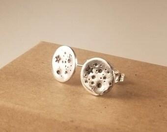 Sterling Silver Full Moon Stud Earrings