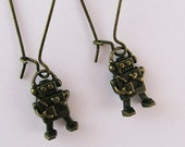 Clearance Sale Bronze Robot Earrings, Cute Mini Robot, Love Heart Jewelry