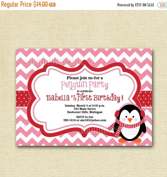 10% OFF SALE Penguin Chevron Birthday Invite - Pink and Red or Teal and Red - PRINTABLE Invitation Design