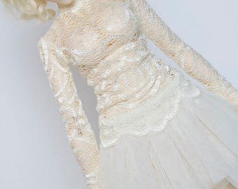 Dark ivory lace shirt for slim Mini Super Dollfie MNF Minifee Moe A-line Fairyland MSD