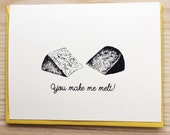 Valentine's Day Card / Cheesy Valentine's Day Card / Food Pun Card / Handmade Screen Printed Card